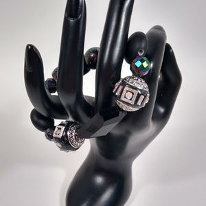 Bracelet Black Silver Sparkly Chunky Handmade